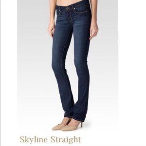 Paige Skyline Straight Denim Dark Blue Jeans Sz 28